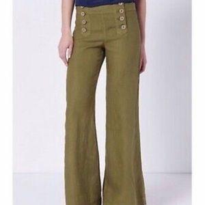 ANTHROPOLOGIE: Elevenses Grn Linen Wide Leg Pant